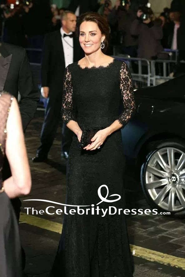 Kate Middleton Black Lace Formal Evening Dress With Long Sleeves