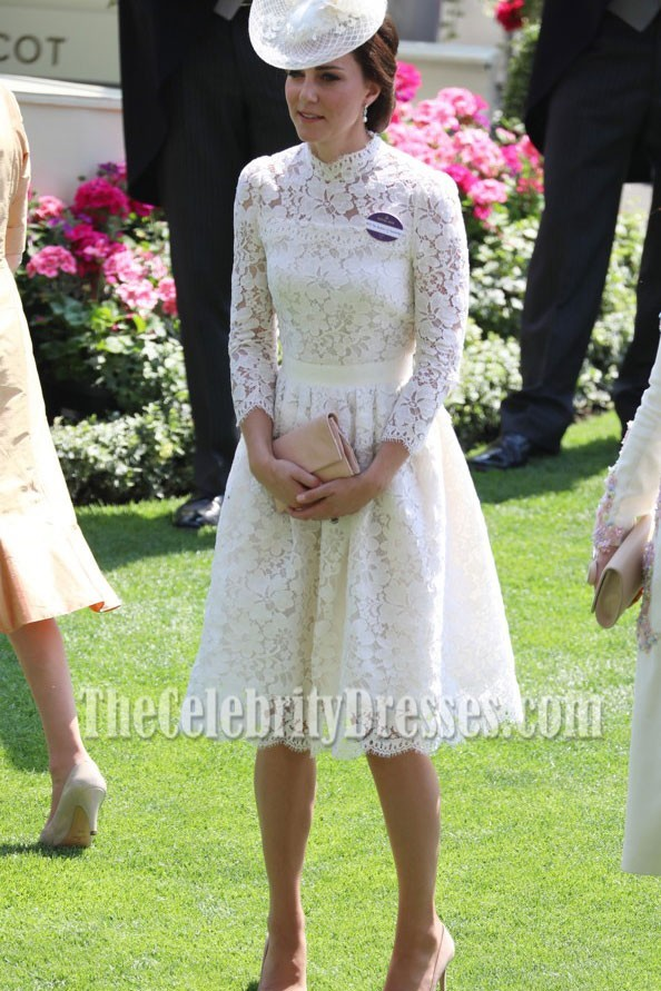 a1a1bd99ac73 Kate Middleton White Cocktail Dress With Long Sleeves Royal Ascot 2017 -  TheCelebrityDresses