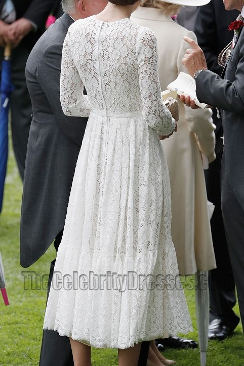 Kate Middleton White Lace Dress With Long Sleeves Party