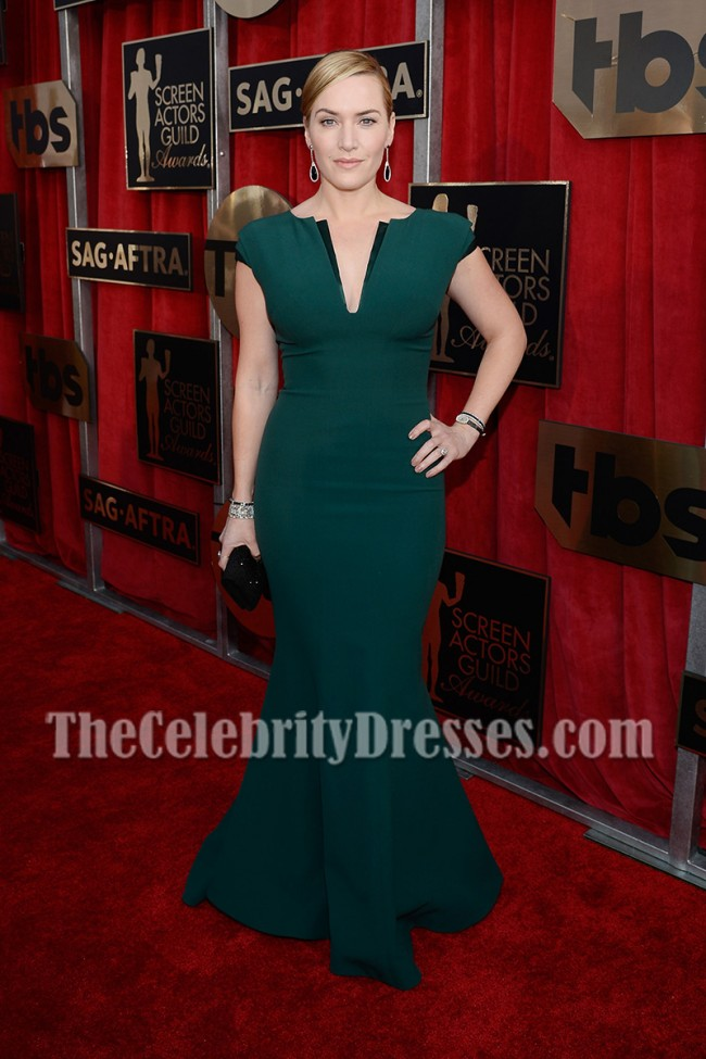 Kate Winslet Dark Green Long Mermaid Evening Prom Gown