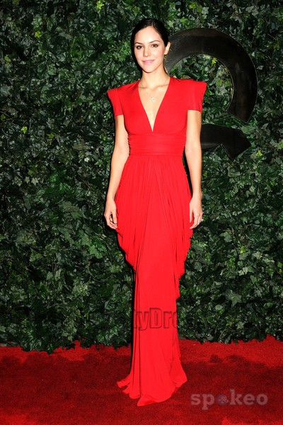 Katharine McPhee Red V-neck Evening Dress QVC Red Carpet ...