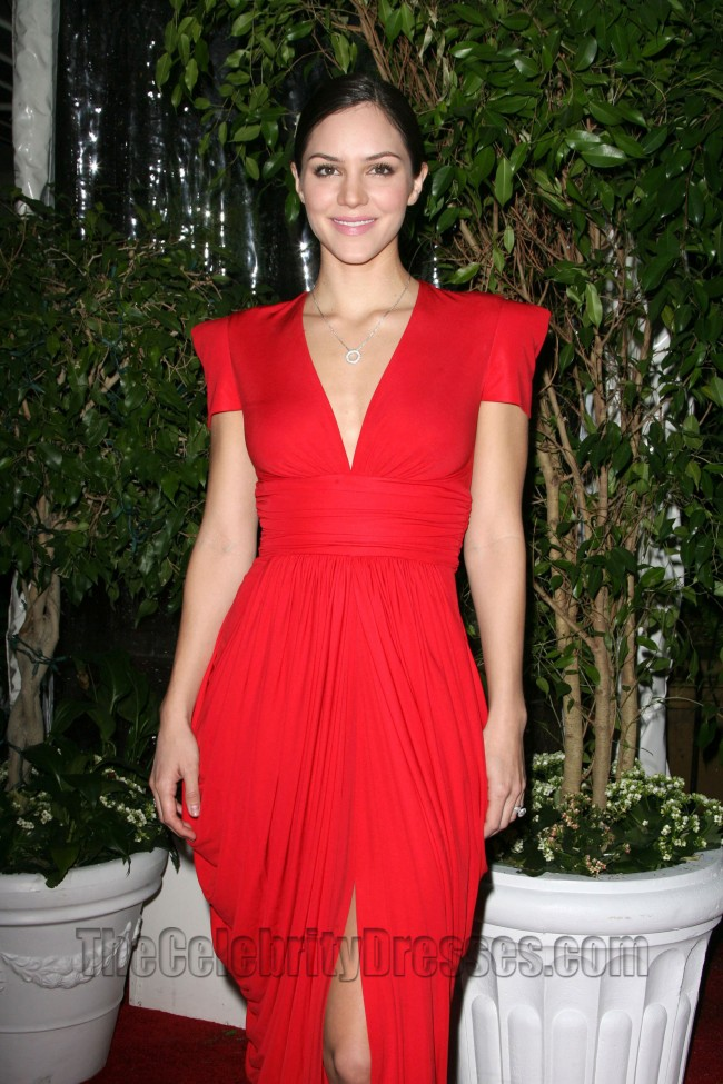 katharine mcphee red vneck evening dress qvc red carpet