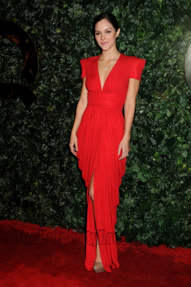 Katharine Mcphee Red V Neck Evening Dress Qvc Red Carpet Style Party