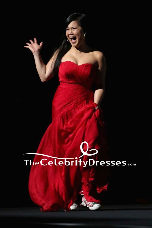 Kelly Marie Tran Red Strapless Evening Dress Premiere Of