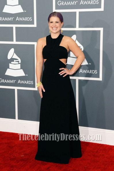 Kelly Osbourne Sexy Black Prom Dress 2013 Grammy Awards
