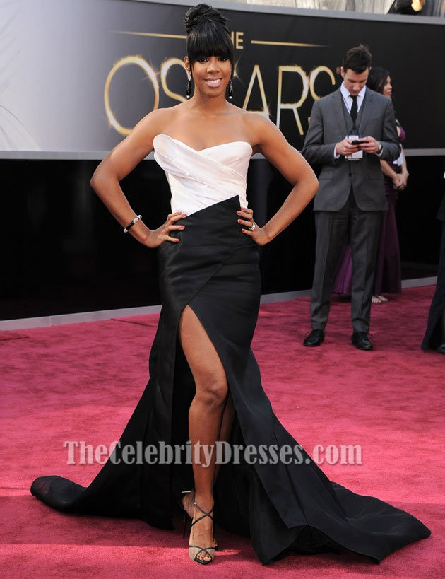 Kelly rowland white and black strapless formal dress 2013 oscar red carpet thecelebritydresses - Black and white red carpet dresses ...