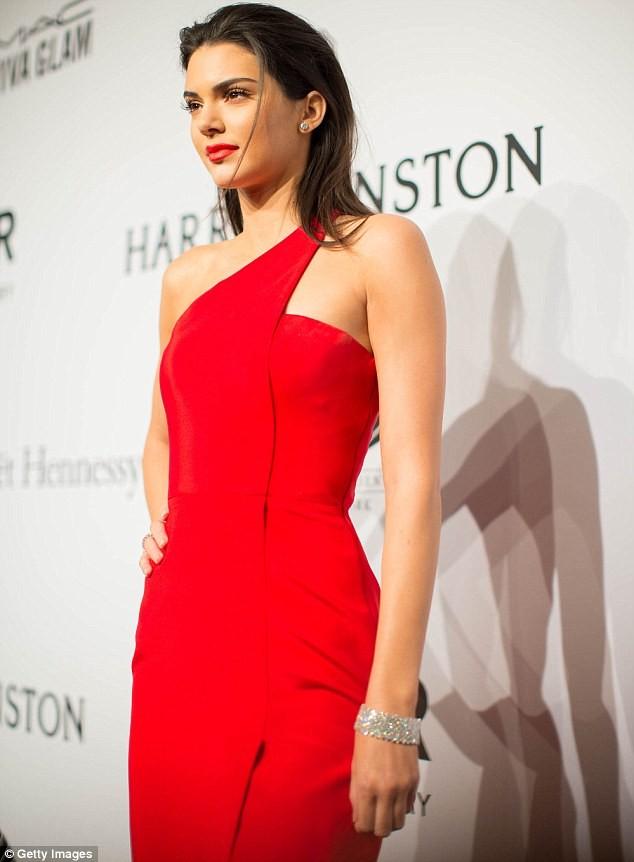 Kendall Jenner Red One Shoulder Evening Dress 2015 Amfar