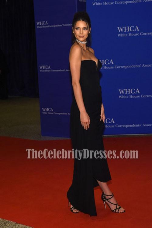 Kendall Jenner Black Strapless Evening Dress 102nd White