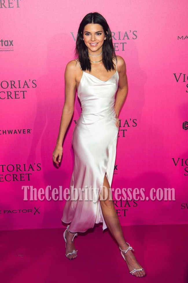 Kendall Jenner White Spaghetti Straps Party Dress Victoria S Secret Fashion Show 2016 After