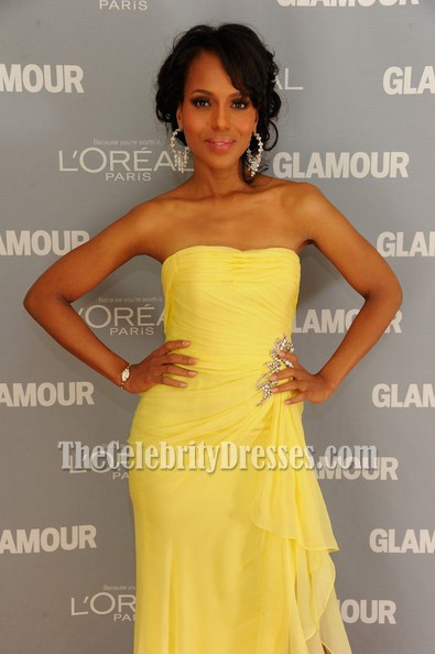 d959e84c26fcf Kerry Washington Yellow Strapless Dress Glamour's 2011 Women of the Year  Awards Red Carpet
