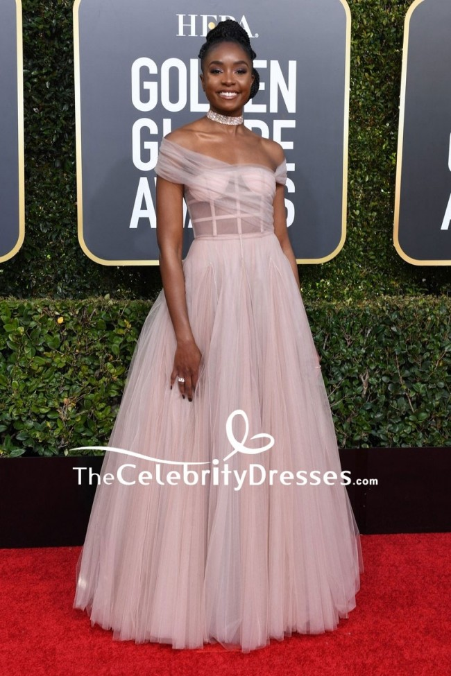 Kiki Layne Off The Shoulder Corset Ball Gown Golden Globes