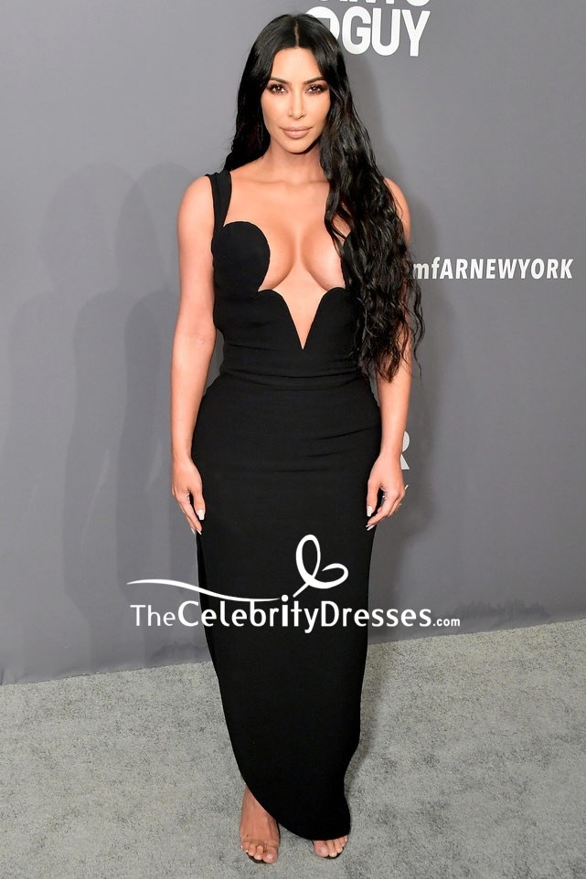 ec0512861e6e4c Kim Kardashian Black Deep V-neck Form-fitting Evening Dress 2019 amfAR New  York