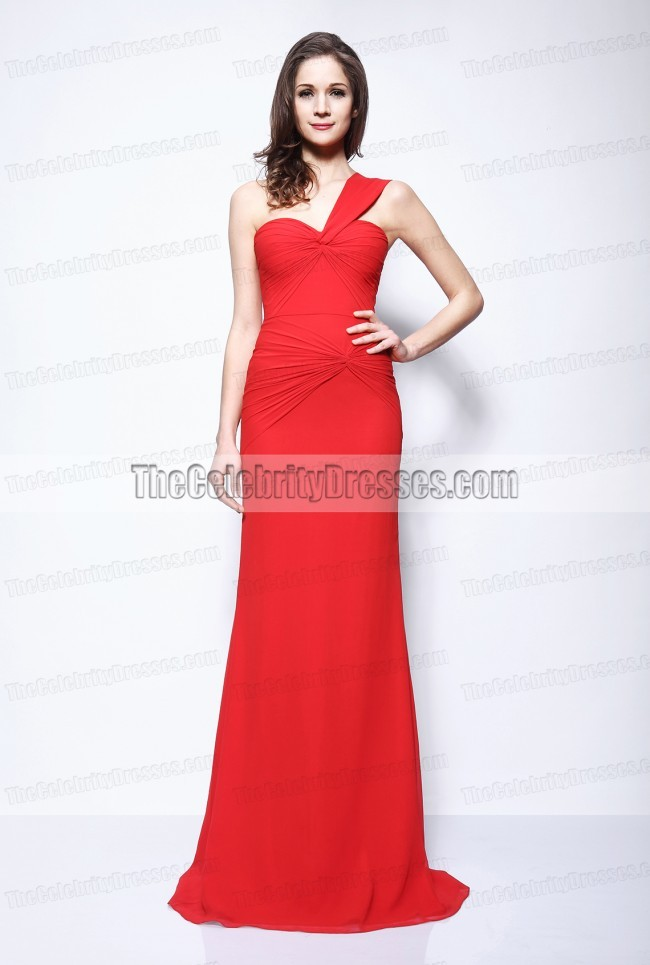 Kim Kardashian Red One Shoulder Prom Gown Evening Dress