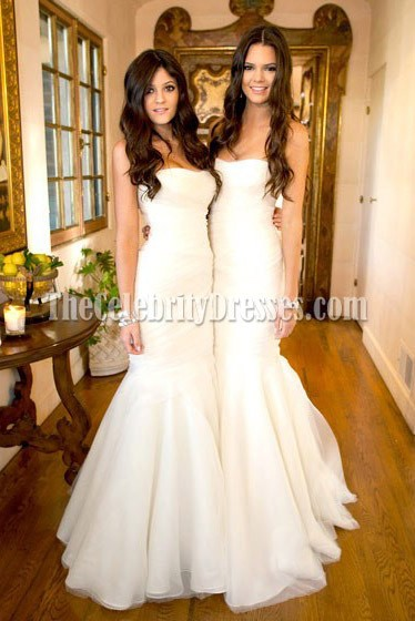 Celebrity Kim Kardashian Wedding White Mermaid Bridesmaid Dresses ...