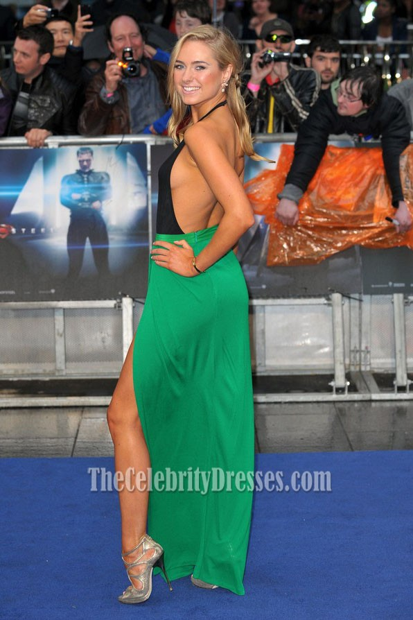 Kimberley Garner Green Stitching Backless Evening Dress