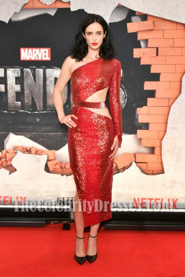 3343ab2973b Krysten Ritter Dark Red Sequins Cut Out Sheath One-shoulder Party Dress New  York Premiere