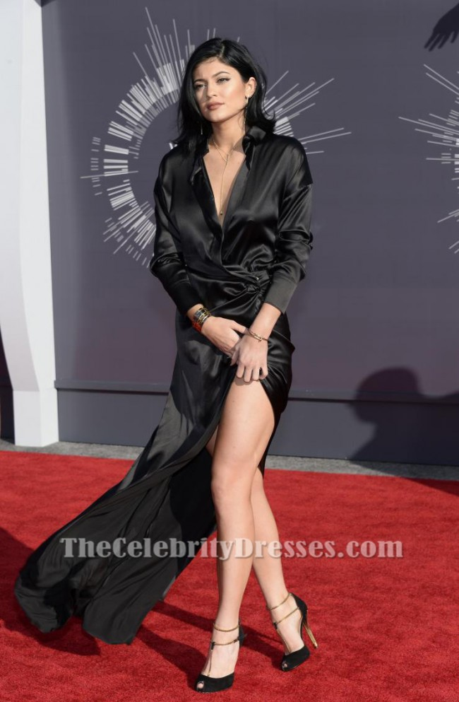 Kylie Jenner Black Long Sleeves Evening Dress MTV Video