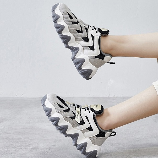 Lace-up Front Mesh Panel Chunky