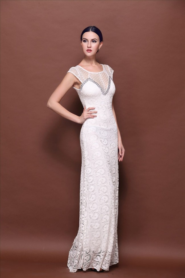 White Floor Length Lace Evening Gown Prom Dresses