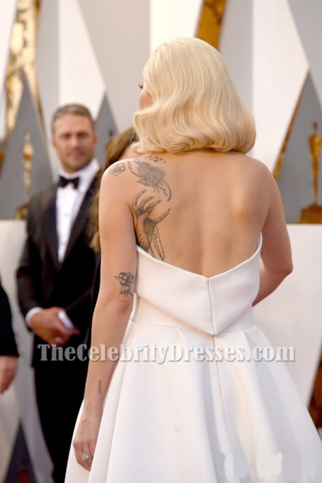 40288934e6a Lady Gaga Ivory Strapless Backless Formal Jumpsuit Evening Dress Oscars 2016  TCD6956