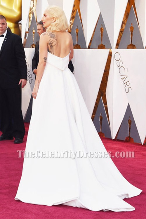 2adf99e0522 Lady Gaga Ivory Strapless Backless Formal Jumpsuit Evening Dress Oscars 2016  TCD6956 · alt