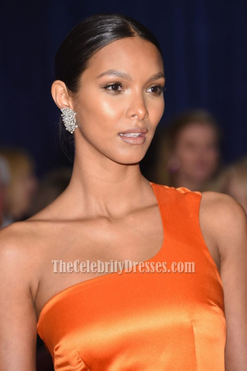Lais Ribeiro Orange One Shoulder Backless Evening Dress