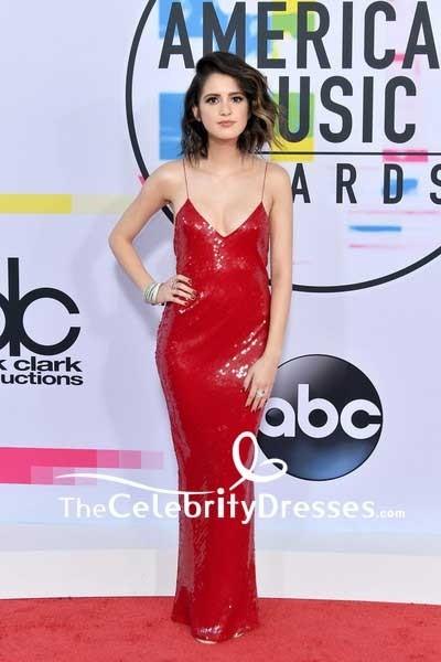 5ecb3f5d2c Laura Marano Red Sequins Spaghetti Strap Slip Evening Dress 2017 American  Music Awards TCD7594