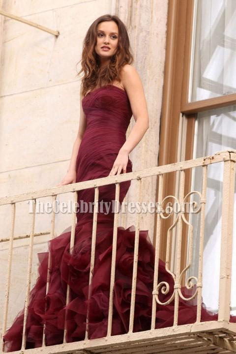de5b0a2f59d5 Leighton Meester Burgundy Strapless Mermaid Prom Dress Gossip Girl ...