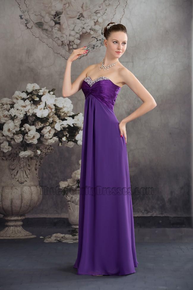 Long Purple Strapless Chiffon Bridesmaid Evening Prom