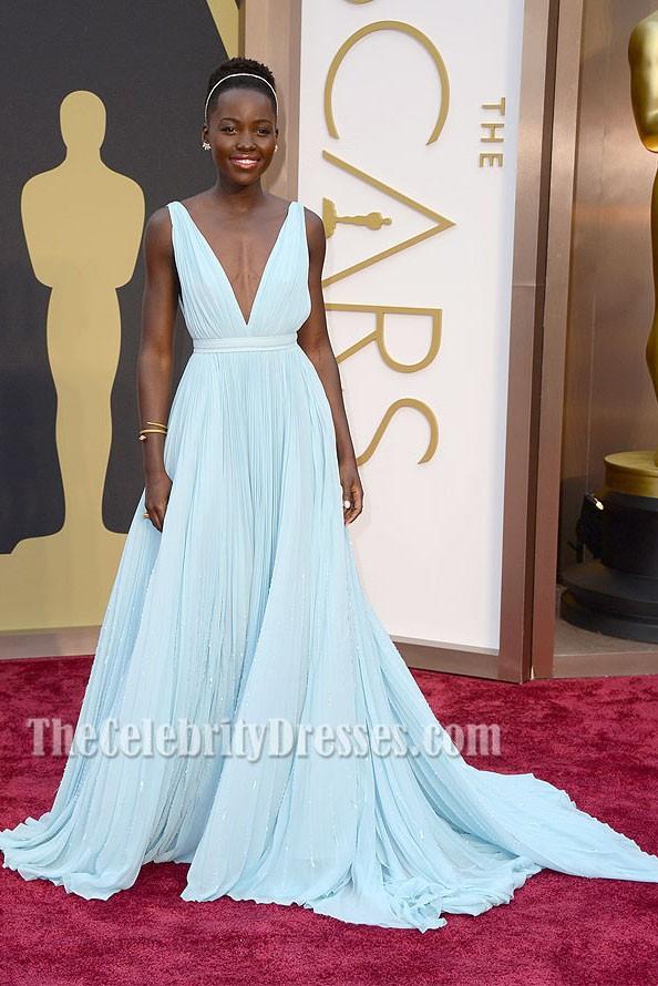 c974a9a2dc Lupita Nyong'o Light Sky Blue Formal Dress 2014 Oscar Red Carpet ...