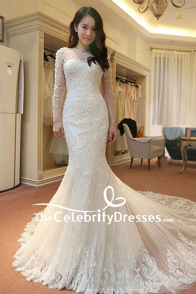 Ivory Ballgown Features Deep V Illusion Neckline With Long Sleeves Made Of La Vie En Rose Lace And A Ball Gown Skirt Silk Shantung