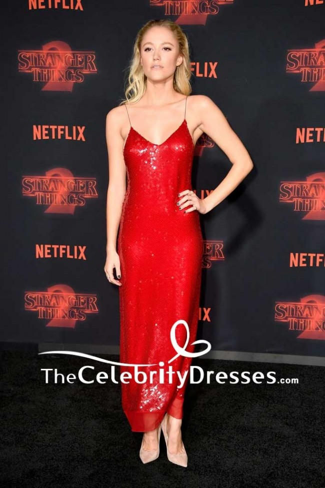 Maika Monroe Red Spaghetti Strap Backless Party Slip Dress Premiere Of Stranger Things Season