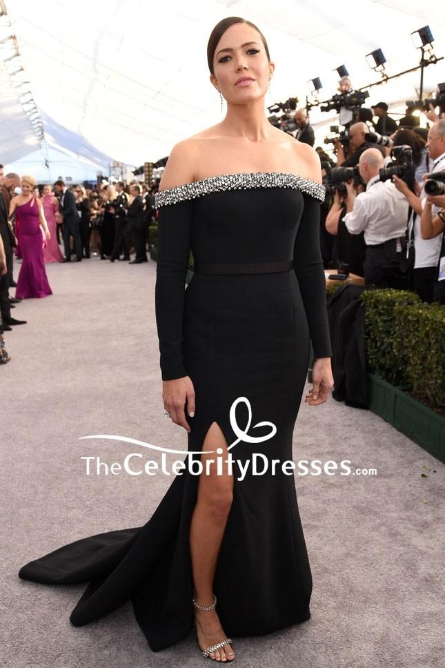 9dc7300f01c3 Mandy Moore Black Off Shoulder Slit Evening Dress With Sleeves 2019 SAG  Award