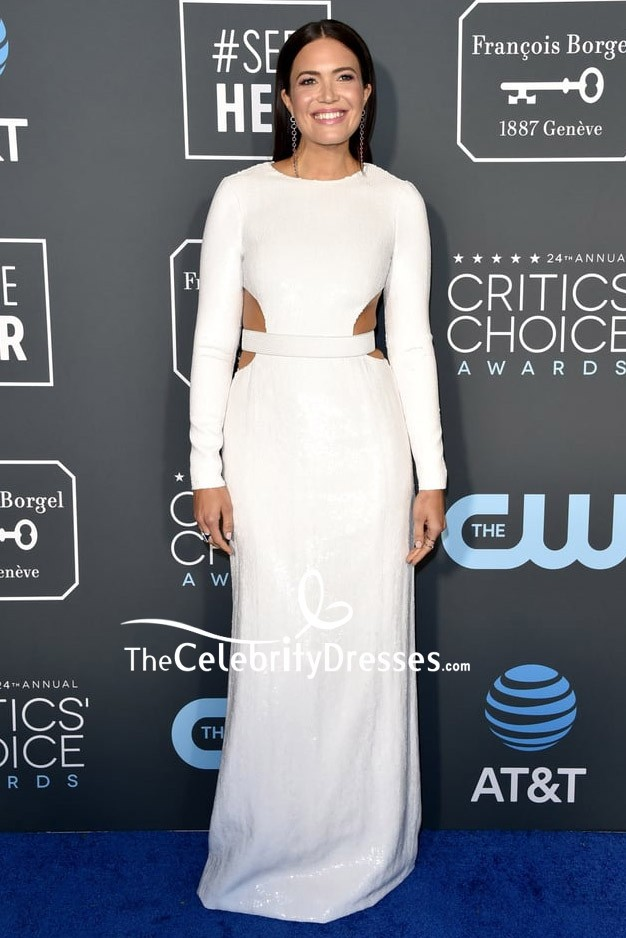 3aaf4201cfa4 Mandy Moore White Sequined Cut Out Dress With Sleeves Critics' Choice Awards  2019