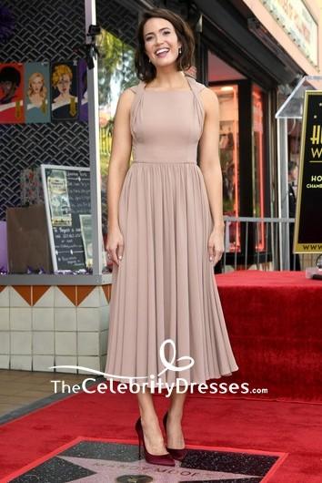 Mandy Moore Nude Tea A Line Midi Semi Formal Dress