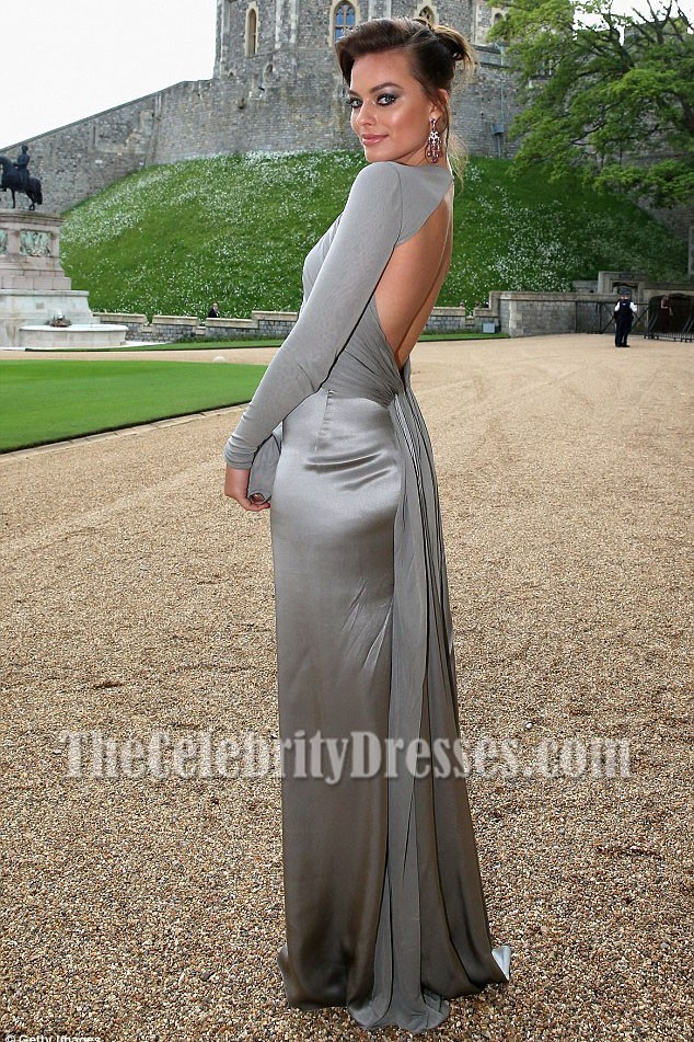Margot Robbie Grey Long Sleeves Backless Evening Prom Gown The