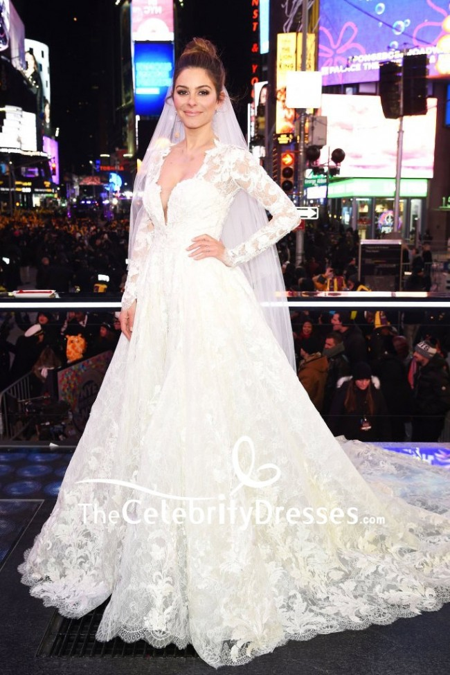 Maria Menounos White Lace Wedding Dress With Long Sleeves Live From Times  Square Show d7212bd1b296