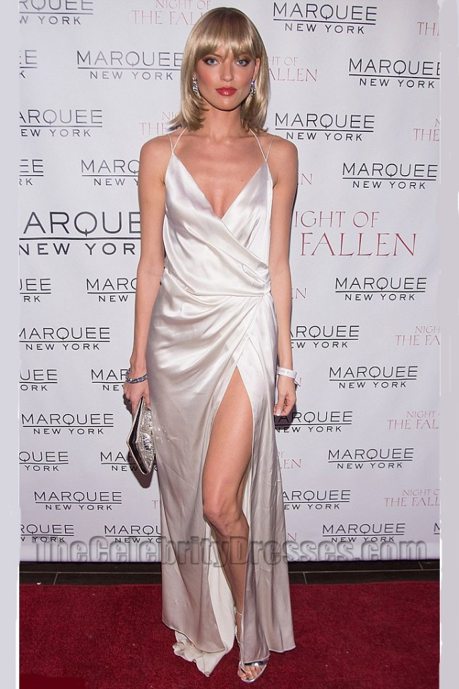 Martha Hunt Sexy Backless High Split Evening Gown
