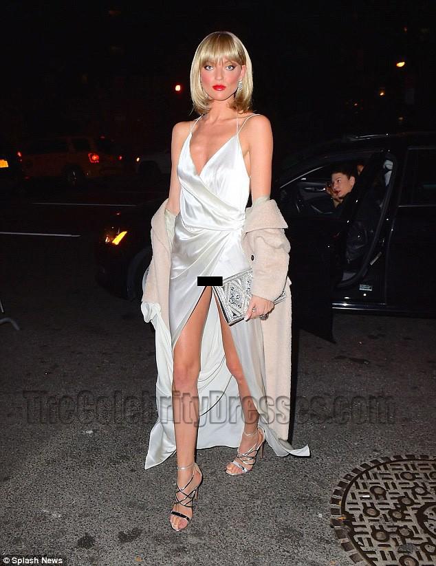 Martha Hunt Sexy Backless High Split Evening Gown Celebrity Dresses