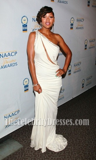 Meagan Good Sexy White Evening Dress Naacp Theater Awards