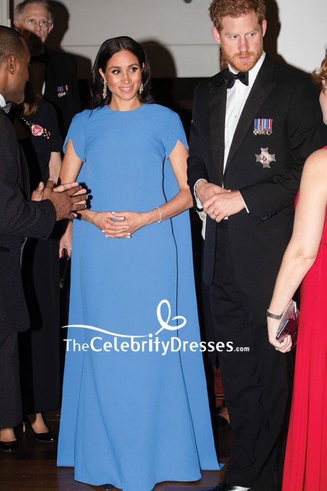 meghan markle blue caped pregnant long dress royal tour in