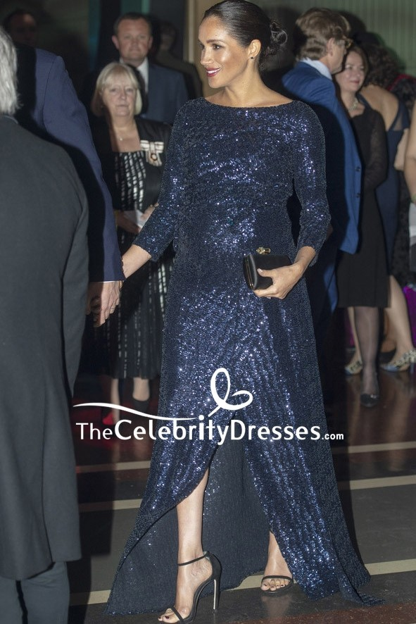 meghan markle dark navy sequined prom dress with sleeves