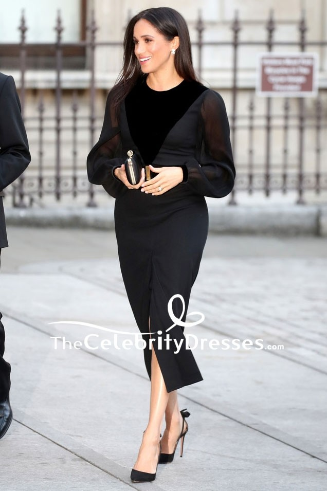 Meghan Markle Little Black Dress With Long Sleeves Royal Academy Of