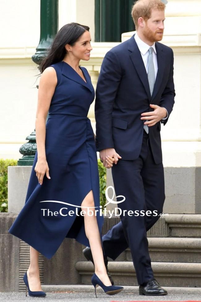 Meghan Markle Navy Blue Tea Length Dress In Royal Tour