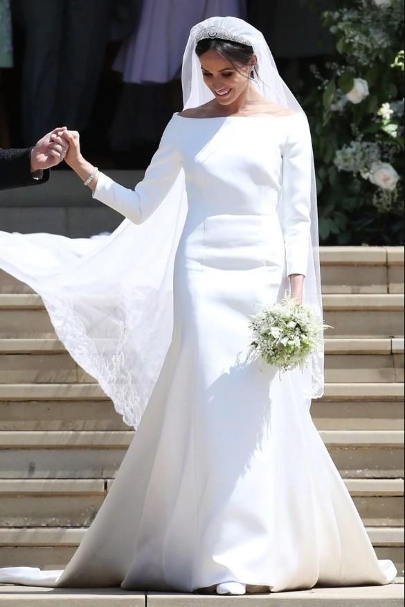 Meghan Markle Weds Prince Harry Elegant Long Sleeves Wedding Dress