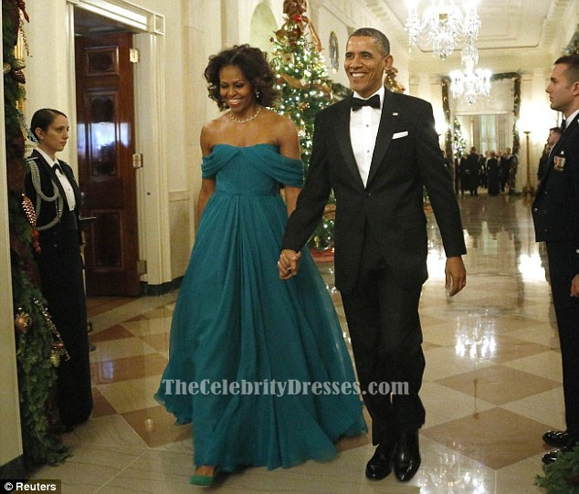 4825610dc4 Michelle Obama Off-the-Shoulder Prom Dress 36th Kennedy Center Honors Gala