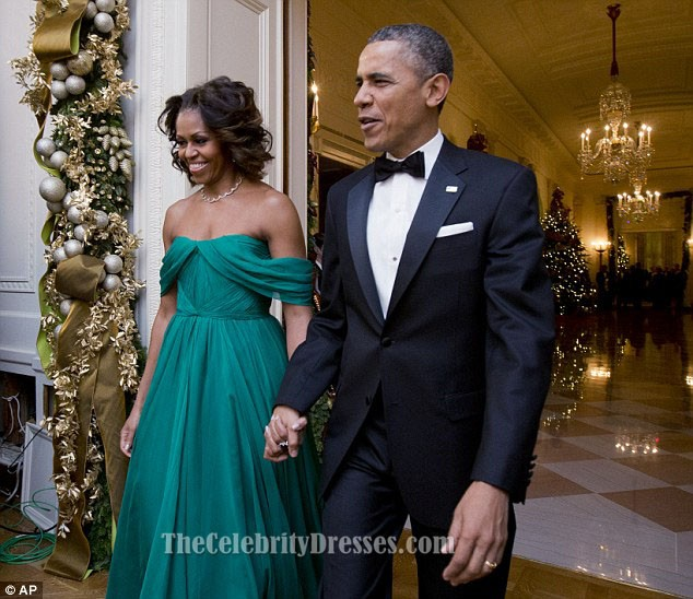bc82f8eacf8b Michelle Obama Off-the-Shoulder Prom Dress 36th Kennedy Center Honors Gala