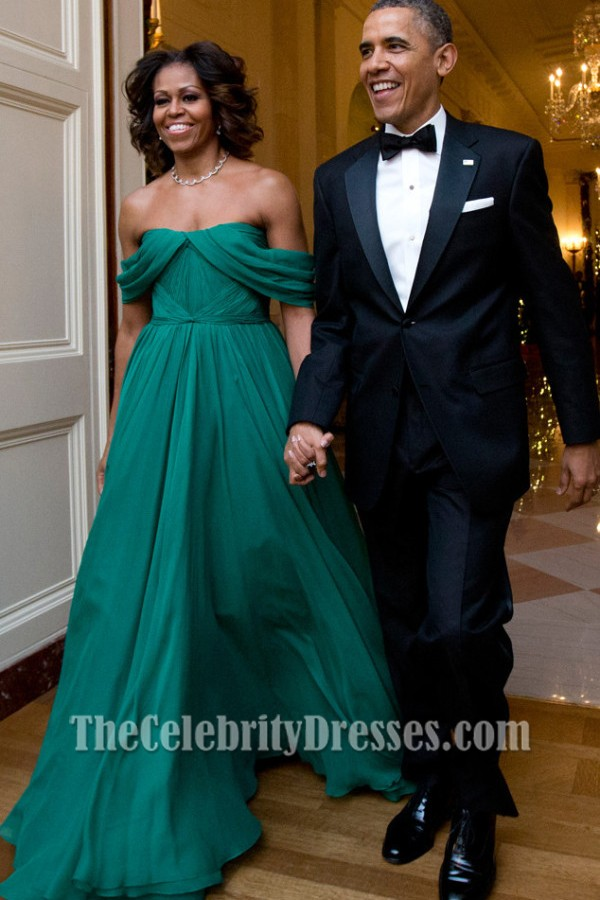 Michelle Obama Off The Shoulder Prom Evening Dress 36th