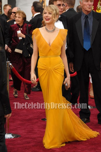 Michelle Williams Yellow Prom Gown Formal Evening Dress Oscar Awards