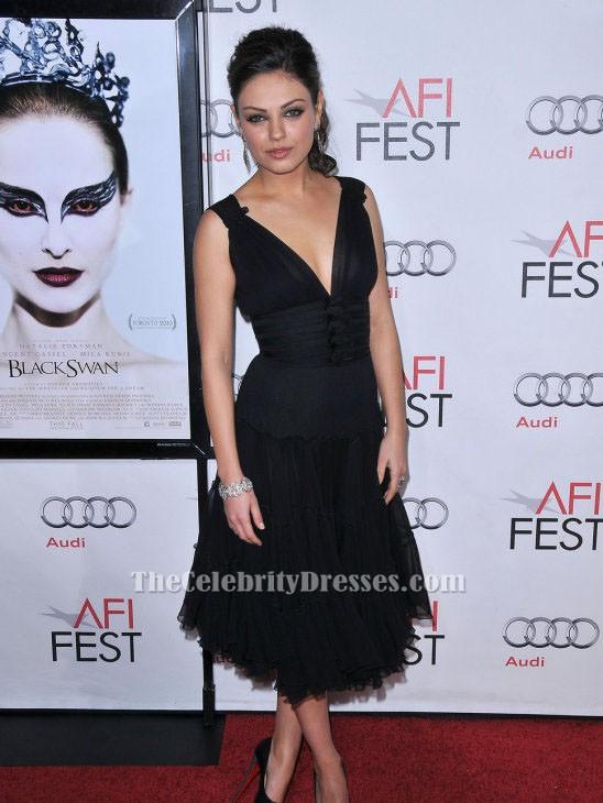 Mila Kunis Black V Neck A Line Party Cocktail Dress Thecelebritydresses